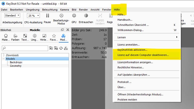 KeyShot Lizenzumlegung neuer PC Rechner oder auf einen anderen PC verteilen - funktioniert mit der KeyShot HD und PRO Version