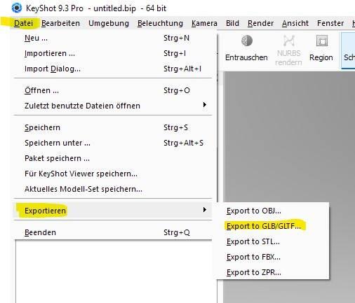 Weg von KeyShot nach Sketchfab als glb gltf Datei Format
