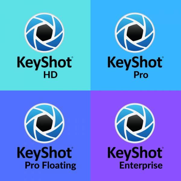 mit diesem Bild zeigen wir den Versionsunterschied zwischen den einzelnen KeyShot Versionen und Varianten. Hier gibt es KeyShotHD, KeyShot PRO, KeyShot PRO floating und KeyShot Enterprise Edition