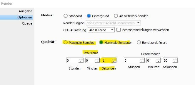 reiter zum einstellen vom schnellen rendern in keyshot animation
