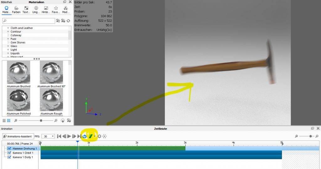 Bewegungsunschärfe in KeyShot mit dem Animationsmodul erstellen