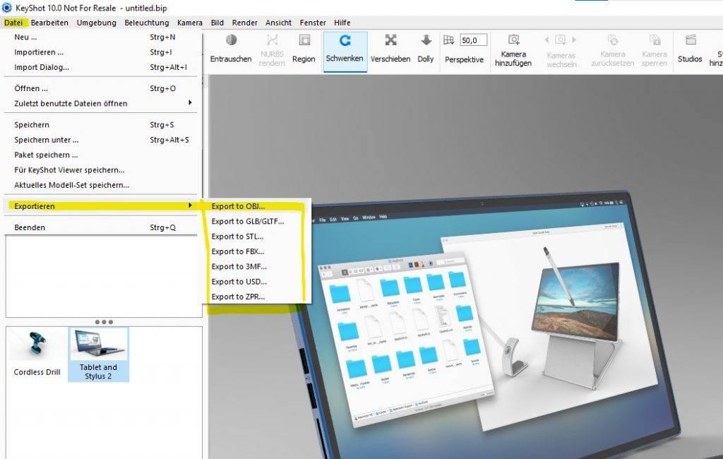 Alle KeyShot exportmöglichkeiten im Überblick für die Version 10 KeyShot