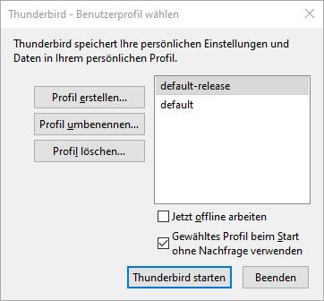 Thunderbird Umzug Benutzerprofil