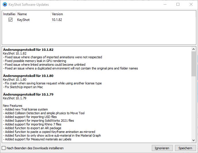 KeyShot Update 10.1.79 .80 und .81 bug fixes März 2021